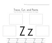 Trace, Cut and Paste Letter Z Worksheet