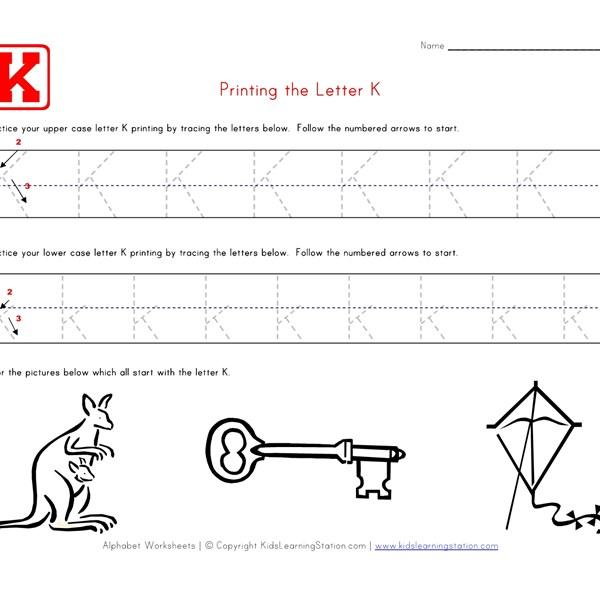 Worksheets Letter K Worksheet traceable alphabet letter k worksheet all kids network seasons