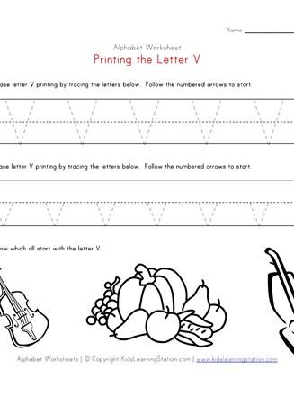 Traceable Alphabet Letter V Worksheet   All Kids Network