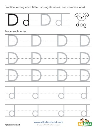 Letter D Tracing Worksheet All Kids Network
