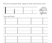 Letter I Tracing Worksheet