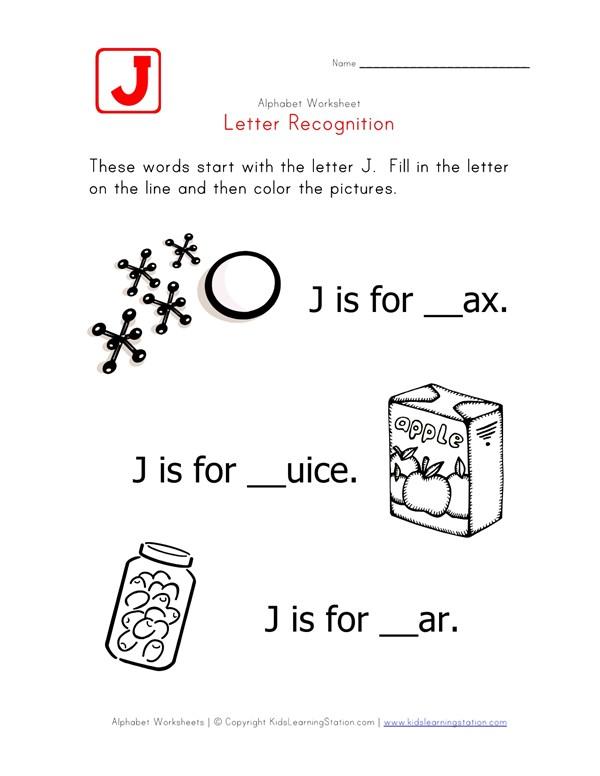 Letter J Alphabet Recognition Worksheet All Kids Network