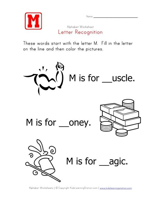 Letter M Alphabet Recognition Worksheet All Kids Network