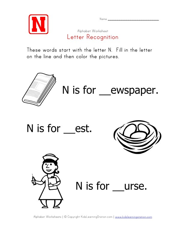 Letter N Alphabet Recognition Worksheet All Kids Network