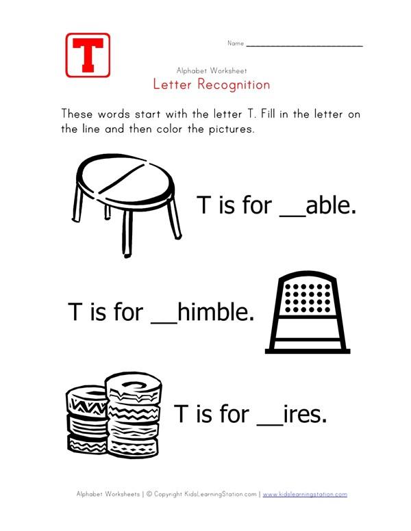 letter t alphabet recognition worksheet all kids networkLetter T Words Worksheets #19