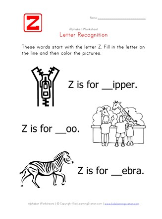 letter z alphabet recognition worksheet all kids network