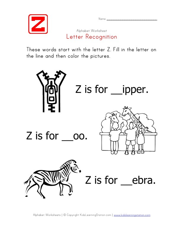 Letter Z - Alphabet Recognition Worksheet | All Kids Network
