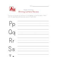 writing letters p to t