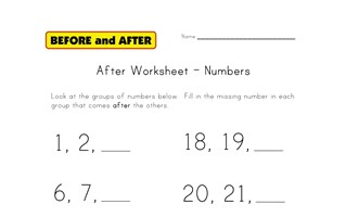 numbers after worksheet