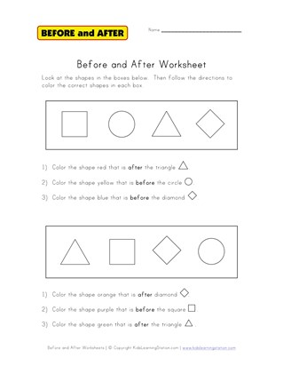 before and after coloring worksheet