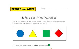 after and before worksheet