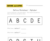alphabet before worksheet