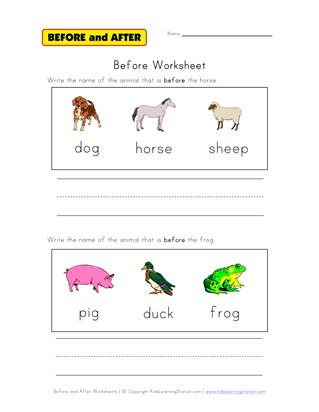 before worksheet animals
