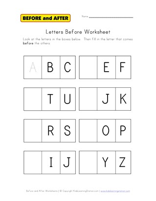 letters before worksheet