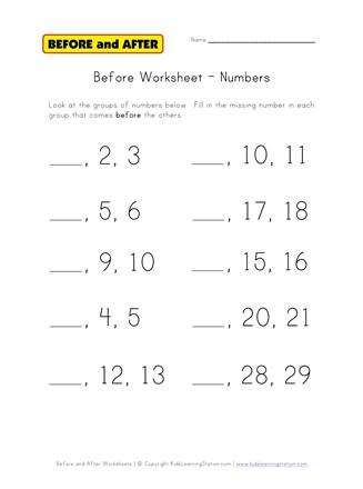 Numbers Before Worksheet | All Kids Network