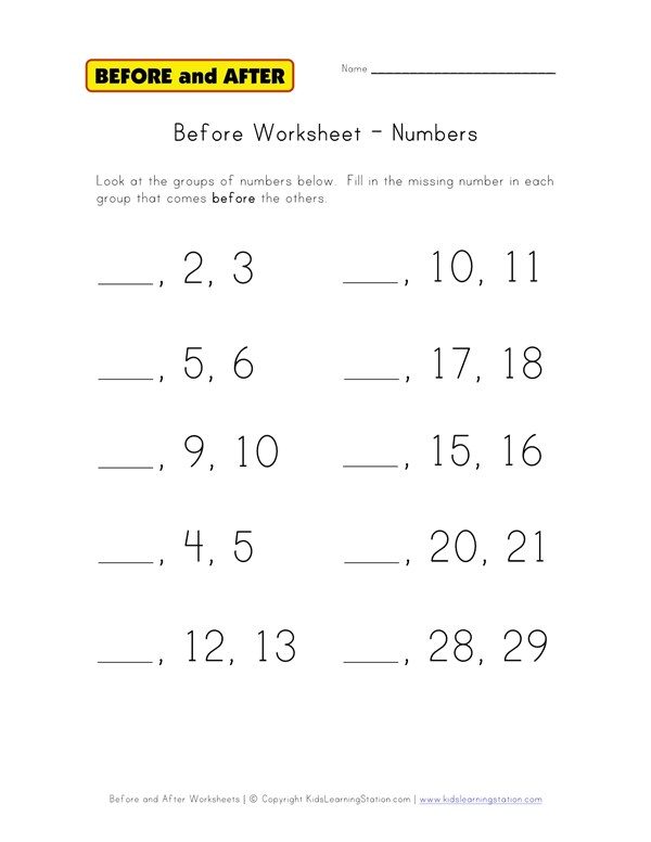 Numbers Before Worksheet | All Kids Network