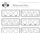 Celebration Themed Before and After Worksheet