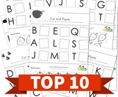 Top 10 Cut and Paste Themed Cut and Paste Letter Matching Kids Activities