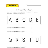 between worksheet letters