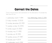 Correct the Dates Worksheet
