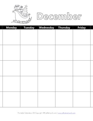 Printable December Calendar with Christmas Theme