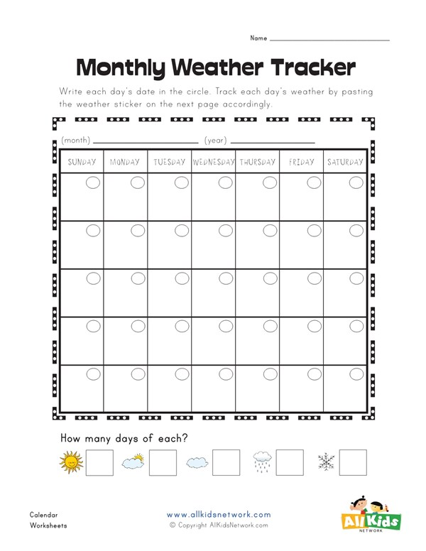 Monthly Weather Tracking Worksheet All Kids Network