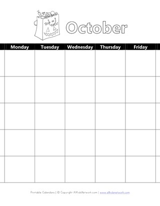 Printable October Calendar with Halloween Theme