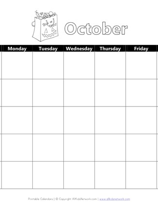 Printable October Calendar With Halloween Theme All Kids Network