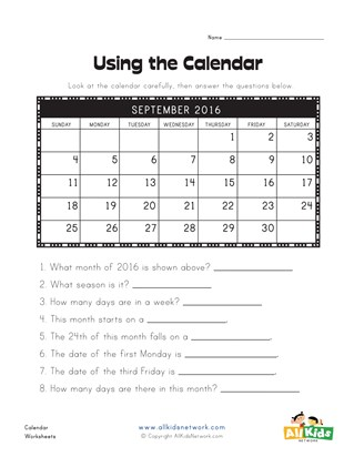 Using a Calendar Worksheet