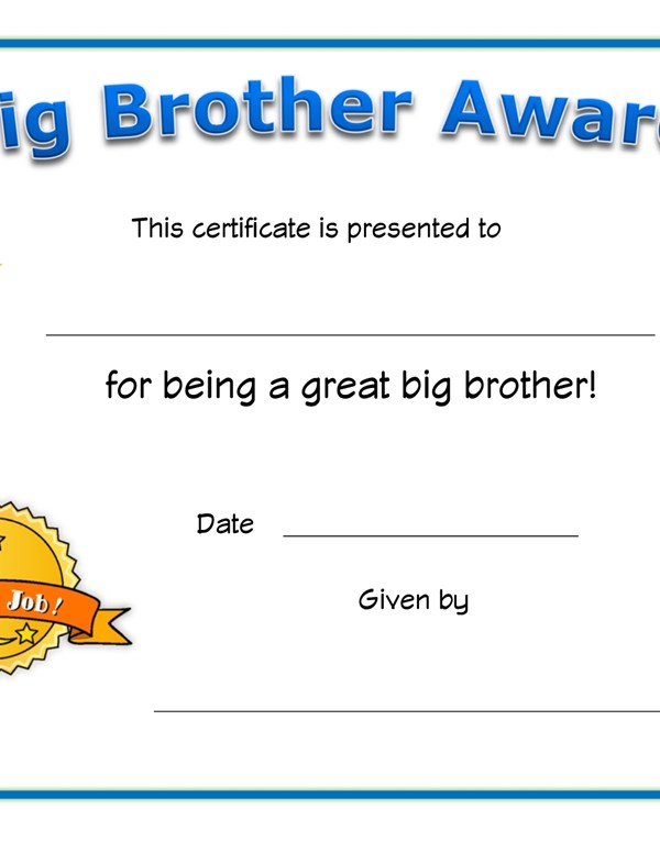 Big Brother Award Certificate | All Kids Network