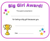 big girl award certificate