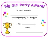 big girl potty award certificate