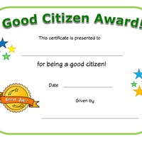 good citizen award certificate