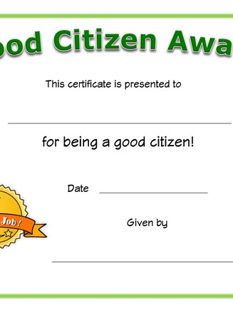 Good citizen award certificate all kids network yadclub Gallery