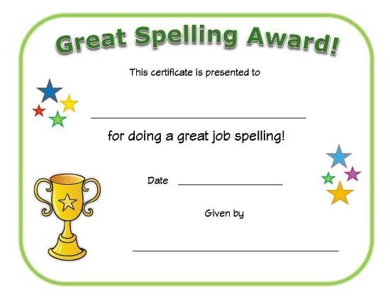 Great Spelling Award Certificate