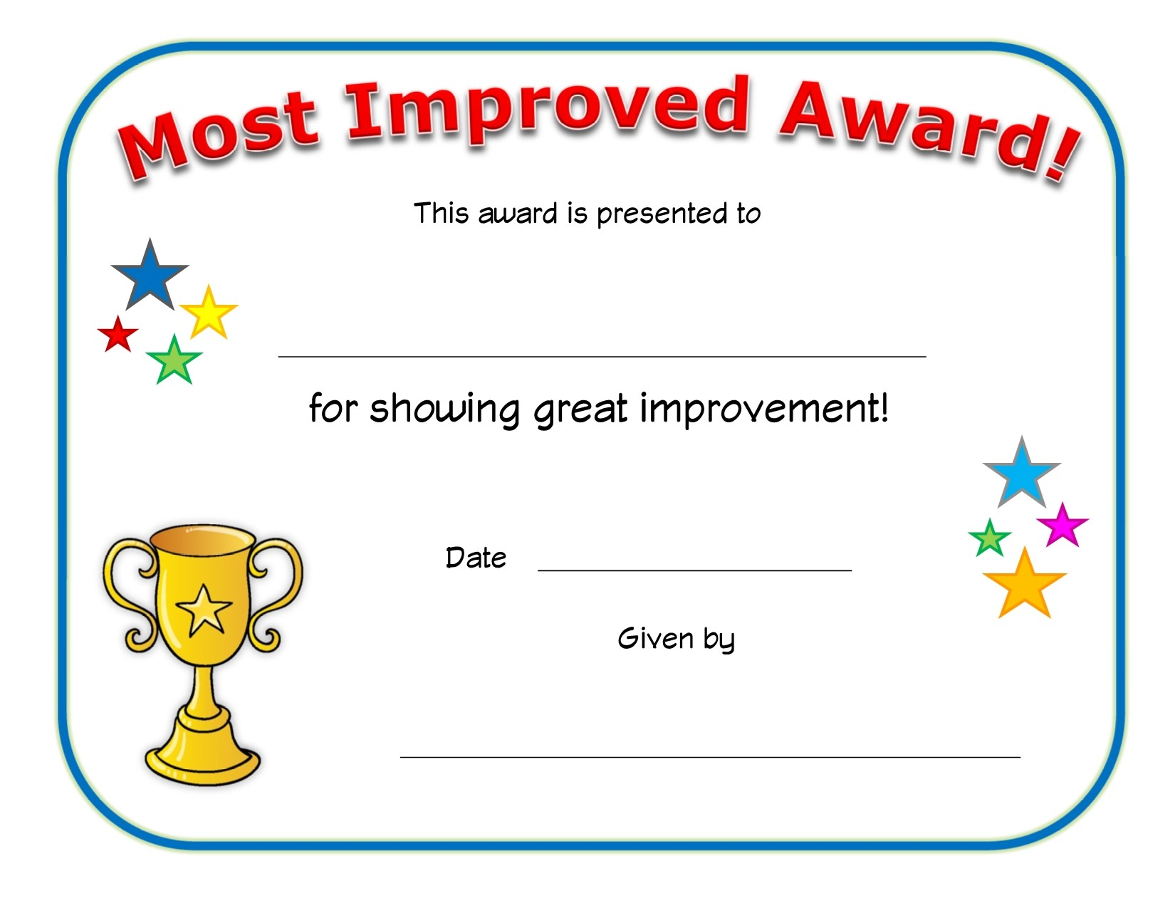 most improved award certificate  Most Improved Award Certificate | All Kids Network