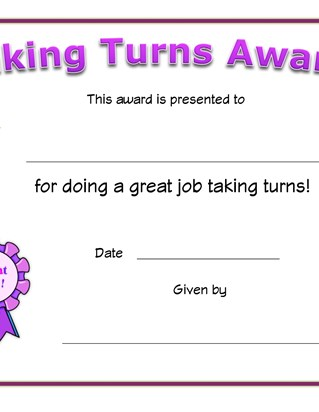taking turns award