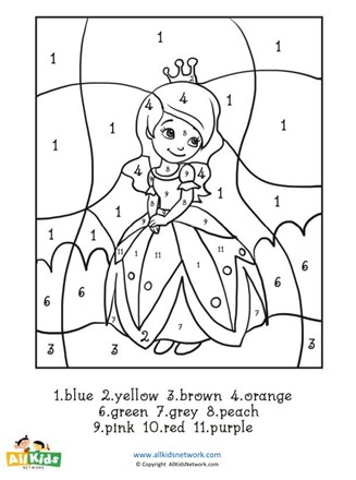 Princess Color By Numbers All Kids Network