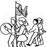 4th of july drummers coloring page
