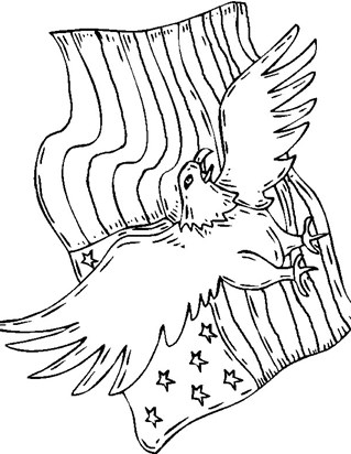 4th of july eagle flag coloring page