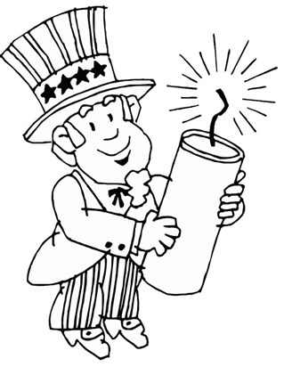 4th of july firecracker coloring page