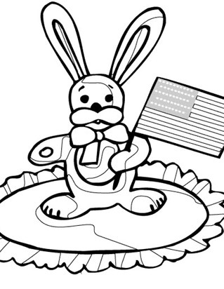 4th of july flag bunny coloring page