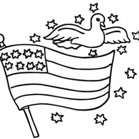 4th of july flag dove coloring page
