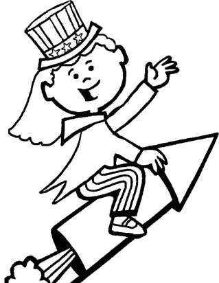 4th of july rocket girl coloring page