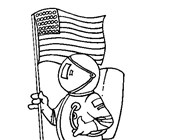 4th of july usa astronaut coloring page