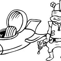alien craft coloring page