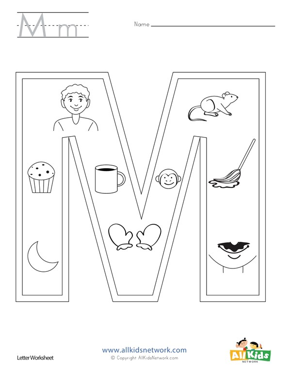 Letter M Coloring Page All Kids Network