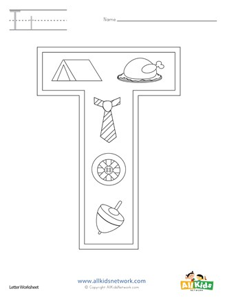 Letter T Coloring Page All Kids Network
