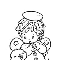 angel chick coloring page