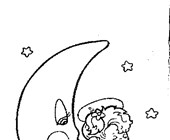 angel on moon coloring page